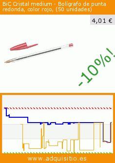 BiC Cristal medium - Bolígrafo de punta redonda, color rojo, (50 unidades) (Productos de oficina). Baja 62%! Precio actual 4,01 €, el precio anterior fue de 10,56 €. https://www.adquisitio.es/bic/bic-cristal-bol%C3%ADgrafo
