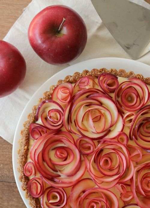 Apple Walnut Tart with Maple Custard.