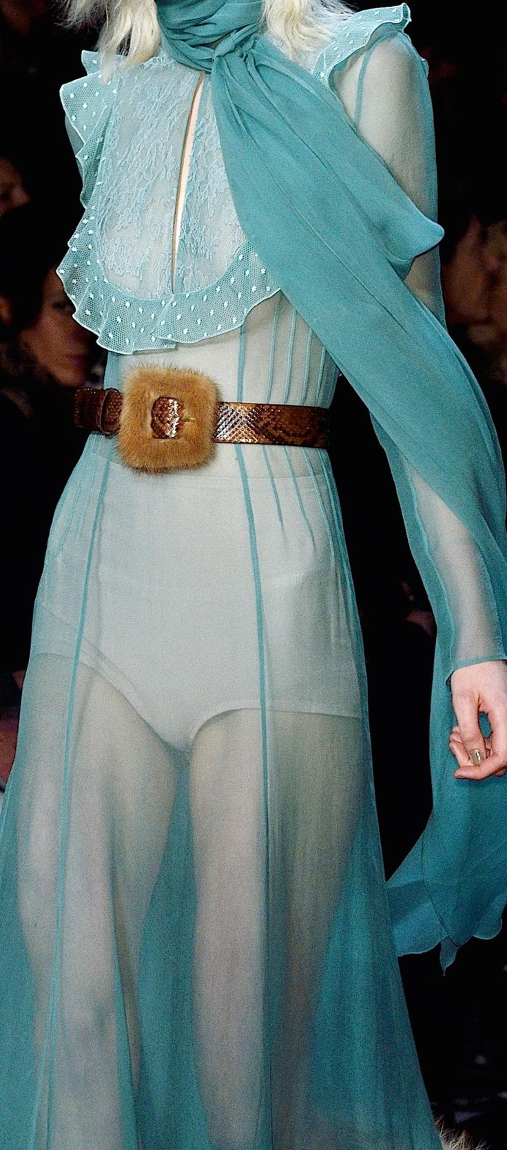 Gorgeous dress. Found this picture but doesn't say who the designer is or which season/year. I suspect is a Velentino.