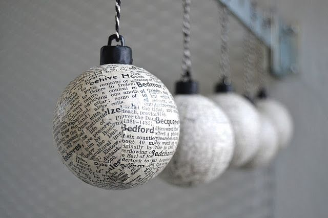 DIY book page covered ornaments (mod podge)