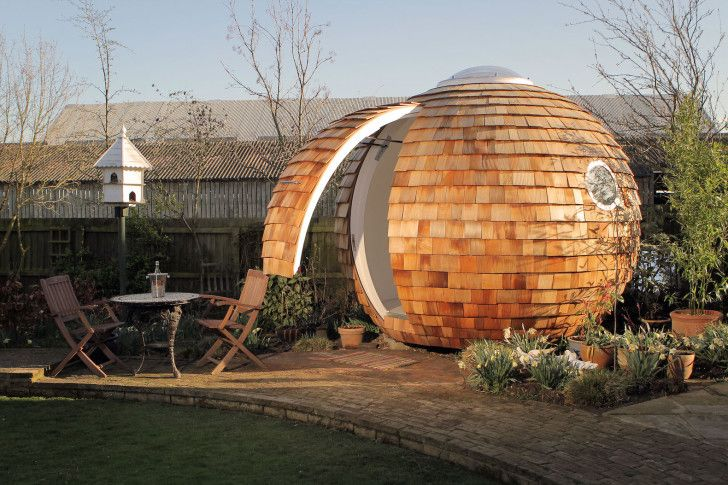 The shingled spherical Podzook is an eco-friendly pod that fits in your backyard