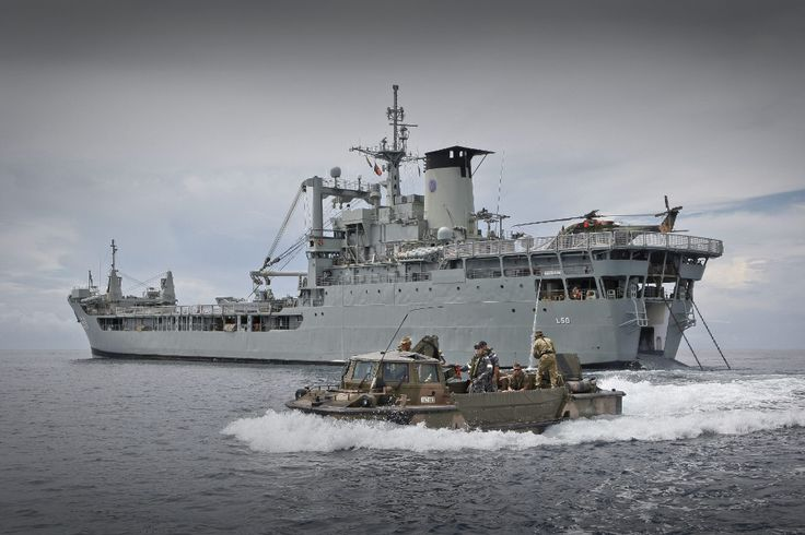 An Australian Army Lighter Amphibious Resupply Cargo craft departs from HMAS Tobruk off the coast of Vanimo, Papua New Guinea.