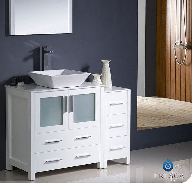 Create Photo Gallery For Website  Torino inch White Vessel Vanity with Side Cabinet FVN WH VSL by Modern BathroomBathroom VanitiesCabinet