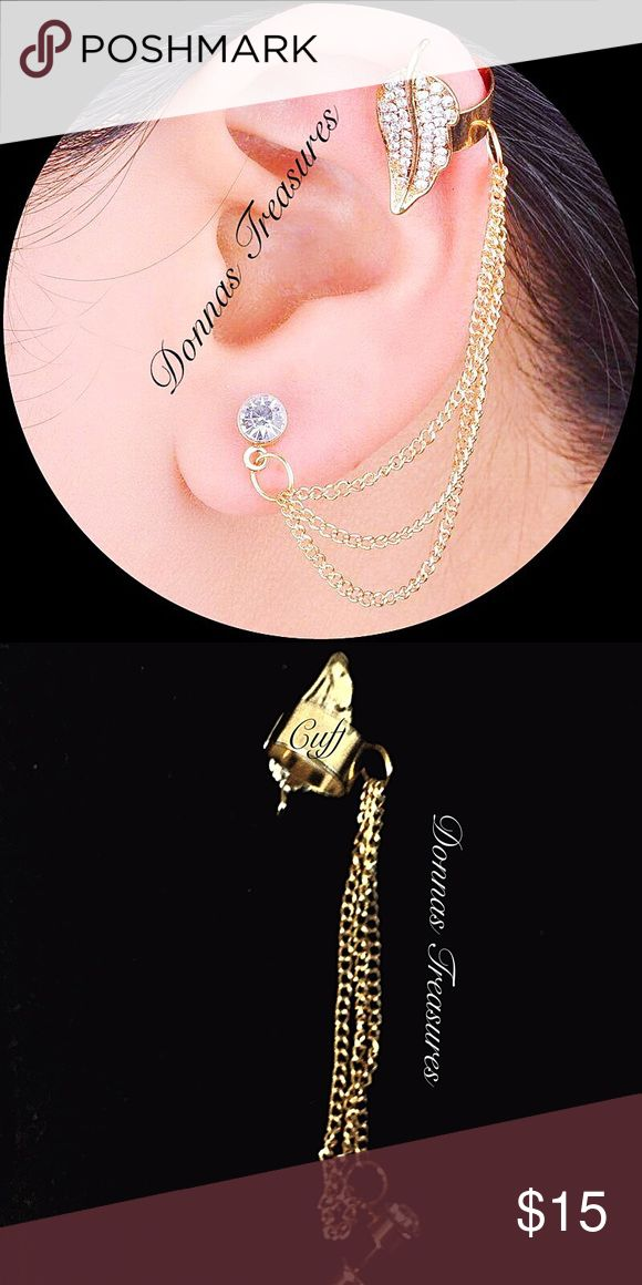 """🎉Diamanté Left Ear Cuff This Cuff, chain & stud combo is 2.17"""" long. The leaf is approx. 3/4"""" long. The total carat weight is approximately .50.  The metal is nickel free gold alloy.  This listing is for 1 Cuff.   #0850/1 Jewelry Earrings"""