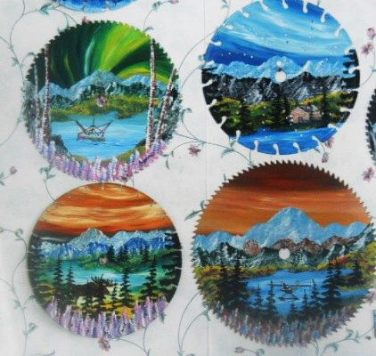 variety of colorful wilderness scenes on circular saw blades prices start at 35.00 ea. variety of sizes available. photo shows sample as colors and scenes will vary as each is hand painted in oils.   USA free shipping... payment through pay pal.