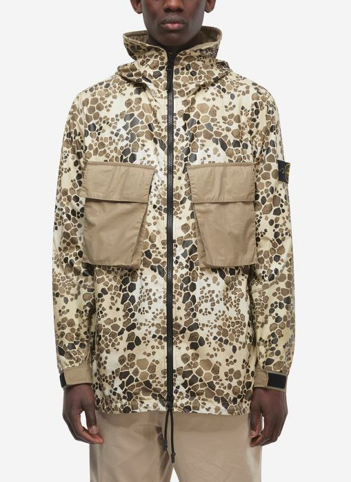 9b077a8650715 Stone Island Alligator Camo Light Cotton-Nylon Rep Hooded Coat In Beige