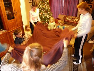 Perfect Game for a Polar Express Party, Jingle Bell Blanket Toss!