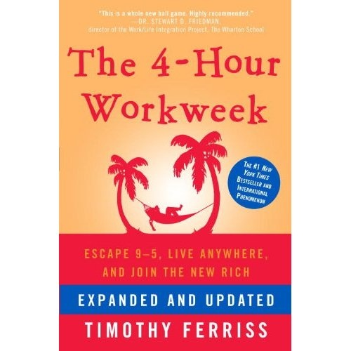 """The 4-Hour Work Week, by Tim Ferriss.  Loved this book.  Coupled with a Hugh Nibley paper called """"Work We Must, but the Lunch is Free"""", I've reshaped how I think about work and how/why to make money."""