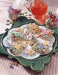 Conversation Heart Rice Krispies Treats recipe for Valentine's Day! Could do this with the kids.