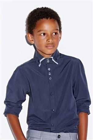 Next - Navy Double Formal Shirt (12mths-16yrs)