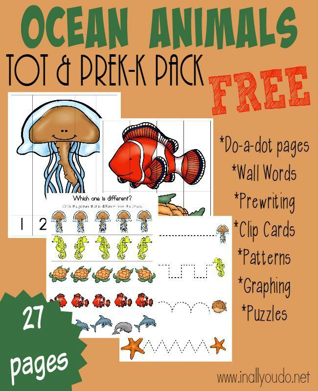 Little ones will enjoy learning about these fascinating Ocean Animals with this FUN Tot & PreK-K Pack! 27 pages of activities including puzzles, do-a-dot pages, prewriting & MORE!! :: www.inallyoudo.net