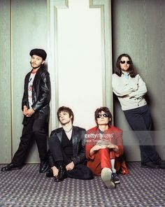 Welsh rock group Manic Street Preachers, London, 1993. Left to right: James Dean Bradfield, Richey Edwards (1967 - 1995), Nicky Wire and Sean Moore.