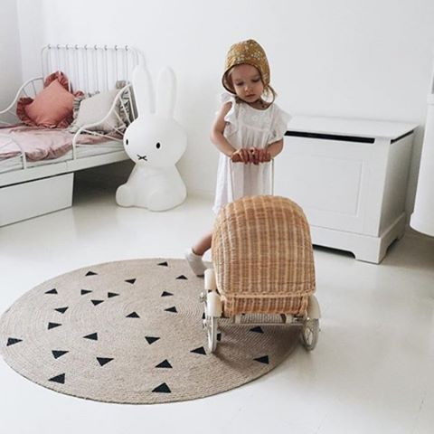 ferm LIVING Round carpet made in 100% jute with small triangles: http://www.fermliving.com/webshop/search/all-products/round-carpet-triangle.aspx