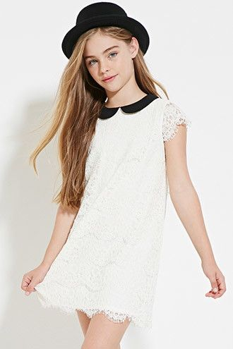 Girls Eyelash Lace Dress (Kids) | Forever 21 Girls - 2000151417