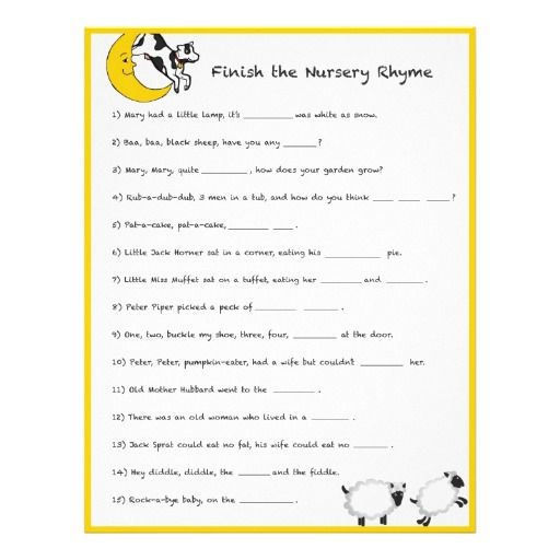baby shower game finish the nursery rhyme baby shower ideas