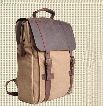 "Large Vintage Handmade Leather Backpack / Satchel / Travel Bag / 17"" Laptop 17"" MacBook Bag (1820-1)"