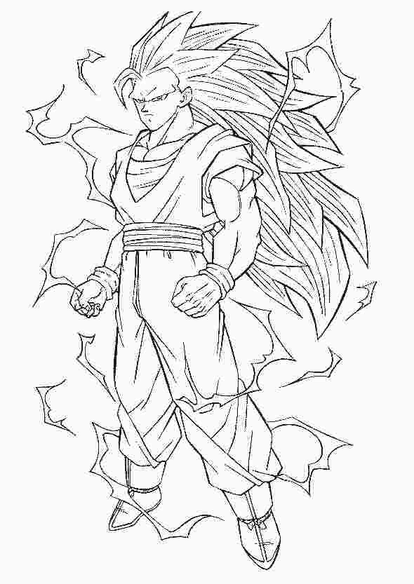 Goku Super Saiyan 3 Coloring Pages Super Coloring Pages