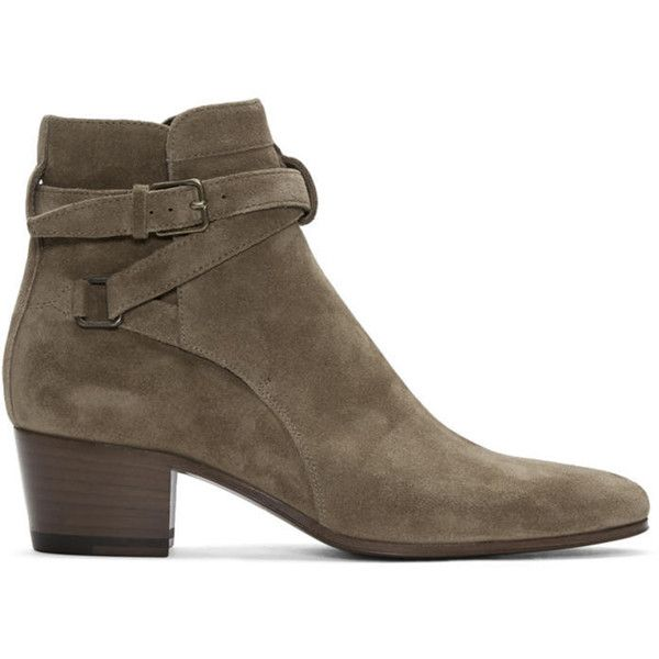 Saint Laurent Brown Suede Blake Jodhpur Boots ($870) ❤ liked on Polyvore featuring shoes, boots, ankle booties, brown, suede boots, high ankle booties, brown suede booties, leather sole boots and ankle strap booties