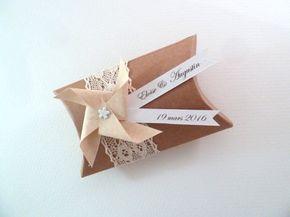 10 Boîtes à dragées berlingot coussin  moulin à par papierelief