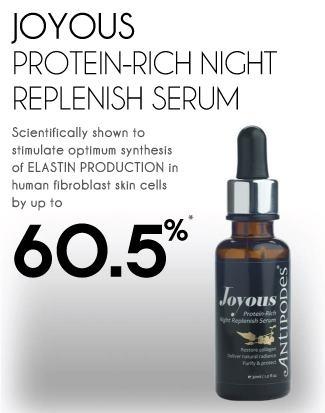 ANTIPODES Joyous Protein-Rich Night Replenish Serum - serum facial noturno para peles secas, estimula a síntese de elastina em 60%, deixando a pele mais macia. Feito com ingredientes orgânicos da Nova Zelândia, contém óleo de semente de framboesa e groselha, ricas fontes de ácido gama-linolênico (GLA). Vende online, Sephora, lojas de cosméticos dos EUA e Europa, Austrália e Nova Zelândia. Preço Médio: £28. #cosmeticdetox #antiage #antirugas #skincare #serum #crueltyfree #organico #antipodes