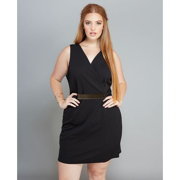 Bella D Inc.  Chic Surplice Belted Dress ($16) ❤ liked on Polyvore featuring plus size women's fashion, plus size clothing, plus size dresses, black, plus size, a line dress, plus size night out dresses, stretch dresses, wet seal dresses and party dresses