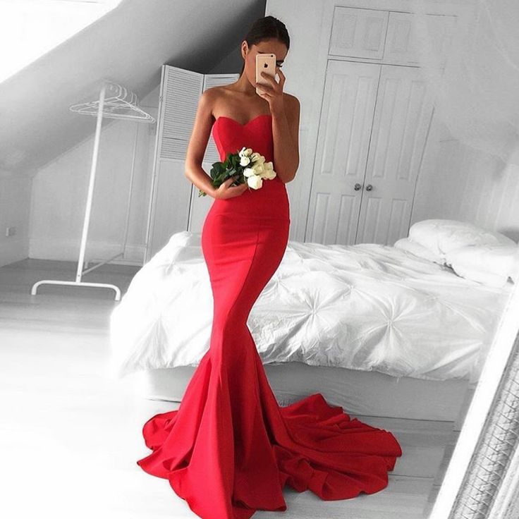 Red Sweetheart Satin Mermaid Prom Dress , Formal Gown , Evening Dress With Sweep Train