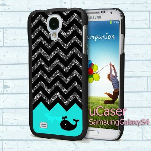 """Black Chevron Glitter for Samsung Galaxy S4 5.0"""" screen Black Case"""
