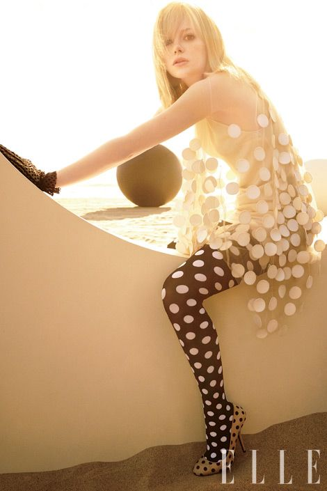 White Polka dots on sheer fabric top contrasted with Black polka dot stockings!
