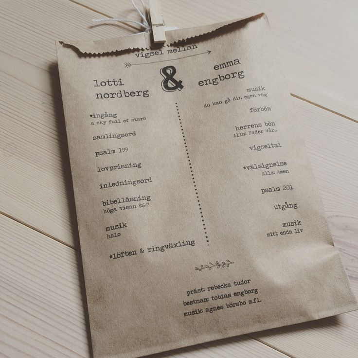 Wedding ceremony program. Goodiebag! - Rosenhill Ekerö