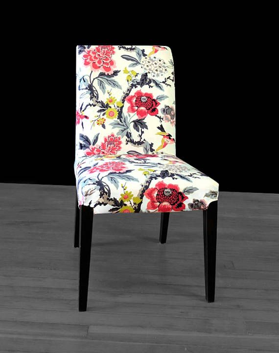 Colorful Flower IKEA HENRIKSDAL Chair Cover White Ebony