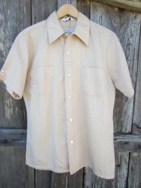 50s Golden Rockabilly Shirt by Mr California, Men's M // Vintage Straight Bottom Short Sleeve Surfer Shirt