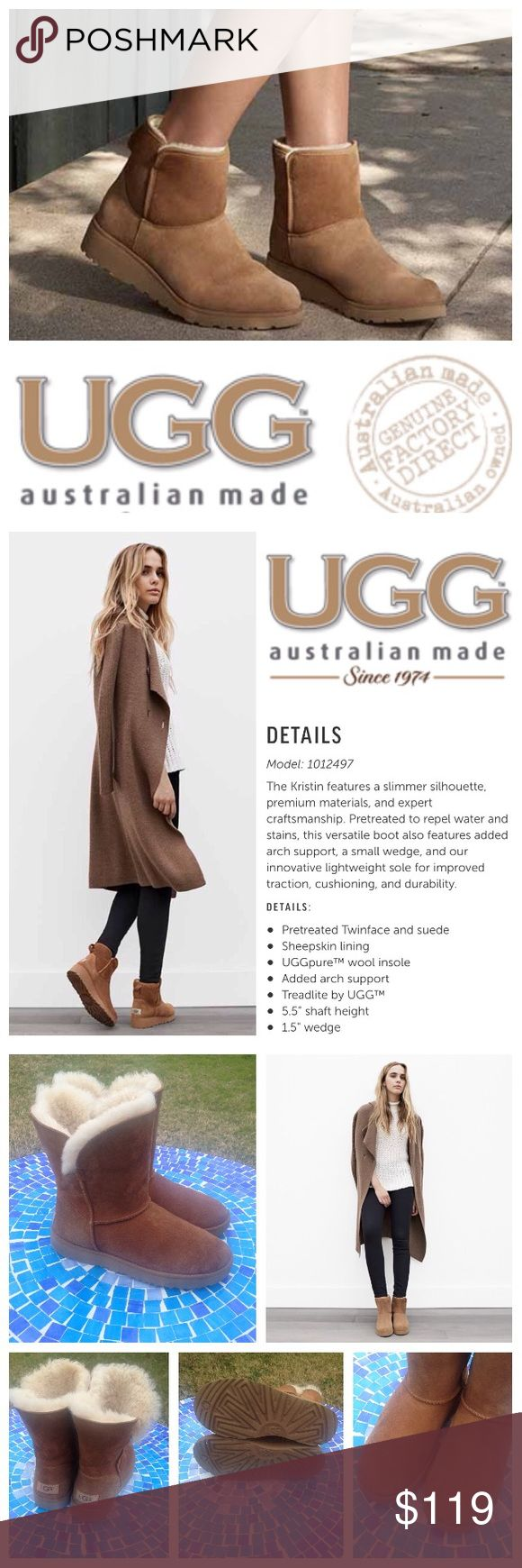 LIKE NEW!  UGG Australia Kristin boots These 100% authentic UGG Australia Kristin boots feature absolutely everything you love in the classic short boot, reimagined with arch support, a small wedge & a more-cushioned sole!  These boots will keep you beyond comfy & ultra-stylish for a fit & feel that are second to none!  This new UGG design is sure to be shut for years to come!  Size is 7 in women's.  Barely worn, in beautiful condition & ready to totally become your favs!  Retail at $160…
