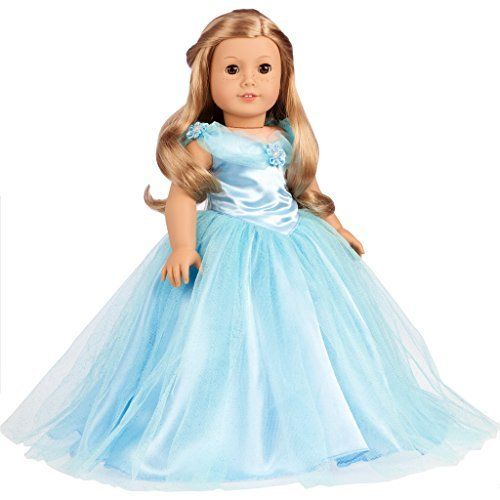 Cinderella - Blue gown with silver slippers - 18 inch American Girl Doll Clothes  Price : $17.97 http://www.dreamworldcollections.com/Cinderella-silver-slippers-American-Clothes/dp/B00Y9CAEP6
