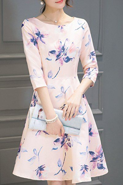 Round Neck Floral Print Dres