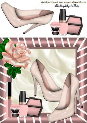 PRETTY PINK SHOES LIPPY 8X8 WITH ROSE 8X8 on Craftsuprint - Add To Basket!