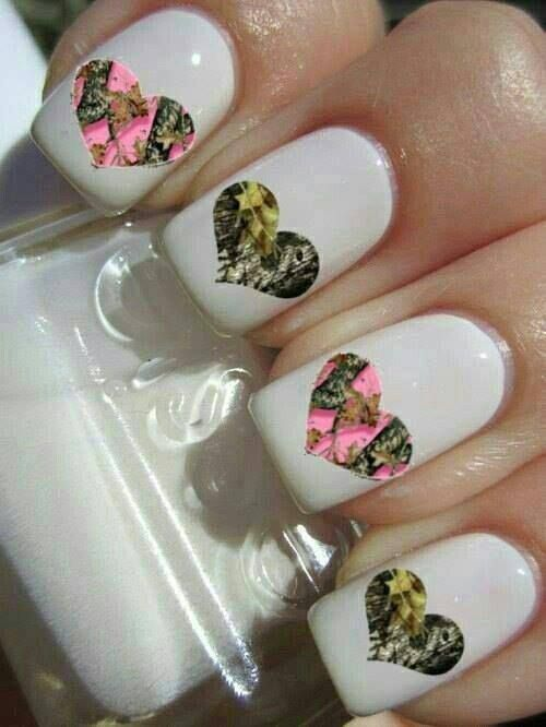 In Honor of Duck Dynasty! Pretty Camo Nails - Camouflage Hearts Over White Polish