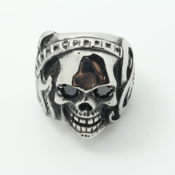 American Country Music Style  Mens 316L Stainlee Steel Ruby Eyes Rock & Roll Guitar Skull Ring Fashion Ring Wholesale Price #Affiliate