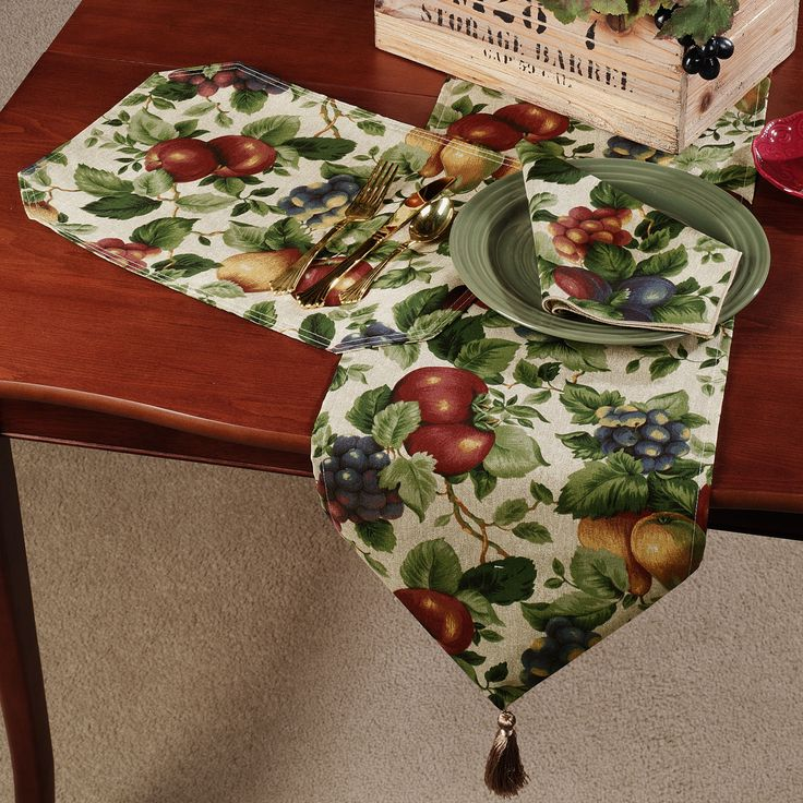 """Sonoma Fruit Table Linens Table Runner is 12W X 72L and Placemats are 12 X 17. Placemats are washable, Runner is spot clean only. Napkins are 17"""" Square. Possibly order napkins and make own table runner with contrasting plaid, or use placemats and crochet an edge around it."""