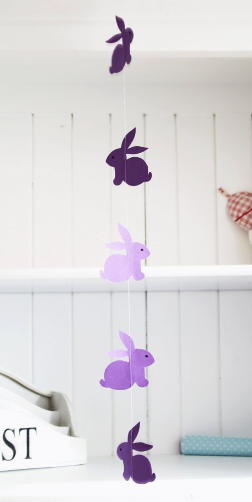 Another pinner -easy kids crafts easter  3/17--I made a garland using this template last night.  Easy and cute!  I used a pad of scrapbook cardstock from Hobby Lobby, so I flipped the template and made an inverse of each bunny so they would be double sided.