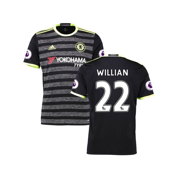 Youth Willian Borges da Silva Black Chelsea 2016/17 Away EPL Badge Replica Jersey - $94.99