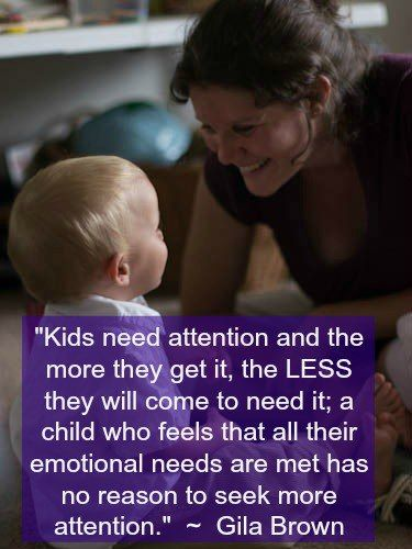 Child development specialist and parenting coach, Gila Brown, explains more about attention on children, and how parents can respond in the face of clingy or negative attention-seeking behaviors.