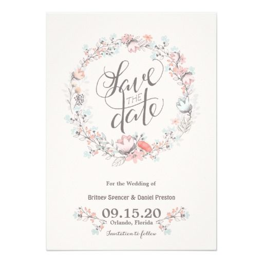 800 best wedding wreath invitations images on pinterest bridal floral wreath wedding save the date cards stopboris Image collections