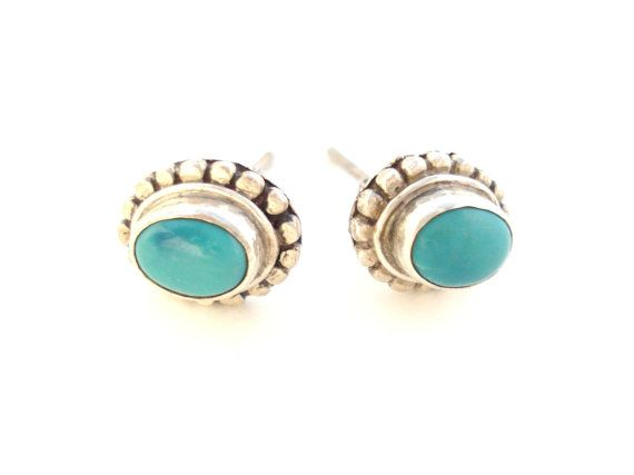 Tibetan silver earrings-Turquoise gemstone-Genuine Tibetan turquoise gemstone-Handmade sterling silver earrings-Tibetan jewelry