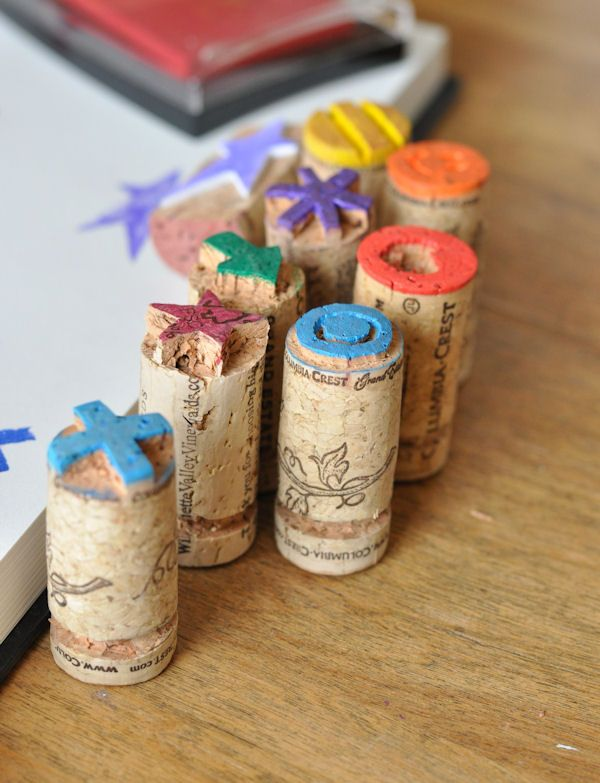 Cork Stamps (soak corks in hot water for 10 minutes before cutting them for crafts--they won't crumble)