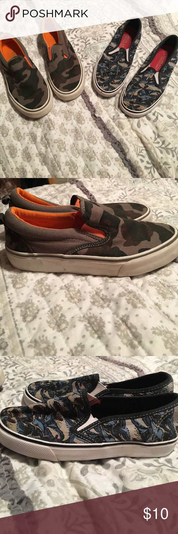 Boys shoes size 1 slip one. 2 pair boys size 1 slip ons. Old Navy camo and highland outifitters sharks. Good condition. Old Navy Shoes Slippers
