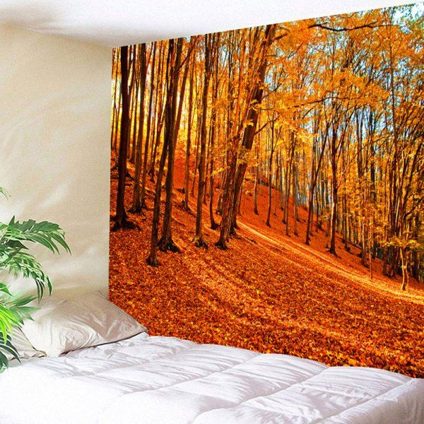 Maple Forest Wall Art Tapestry Hanging Blanket - Orange W79 Inch * L59 Inch Mobile