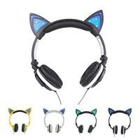 Unique Cat Ear headphones Gaming Headset Earphone Foldable Flashing with LED
