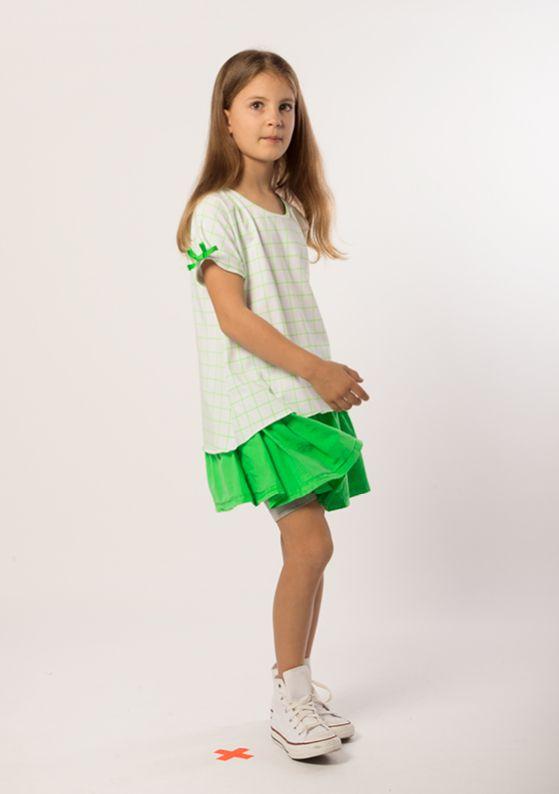Top - Bow Sleeve: Pure White + Neon Green Skirt - Mini: Neon Green