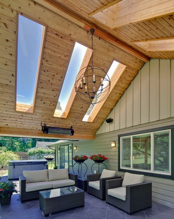 Outdoor Living room idea with skylights: beautiful