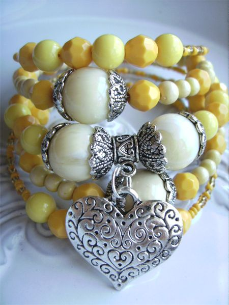 Wrap around memory wire bracelet yellow with silver tone heart other  bracelets